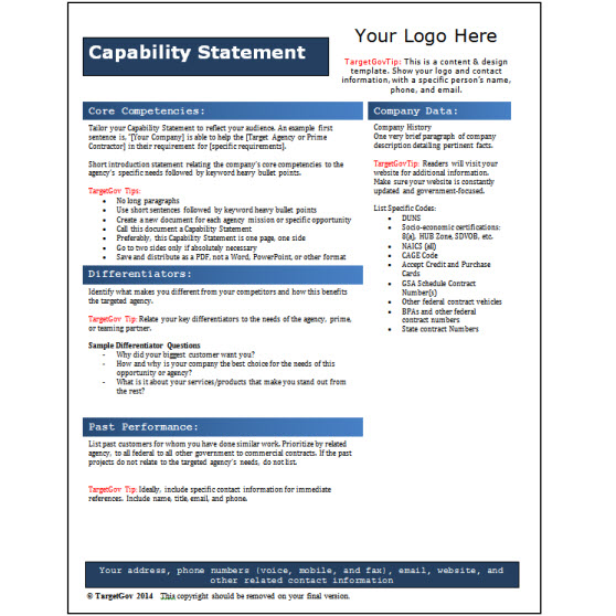 Capability Statement Editable Template  Blue  Targetgov Targetgov