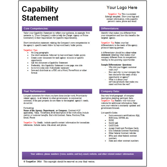 capability statement template word targetgov capability statement editable template targetgov 20773