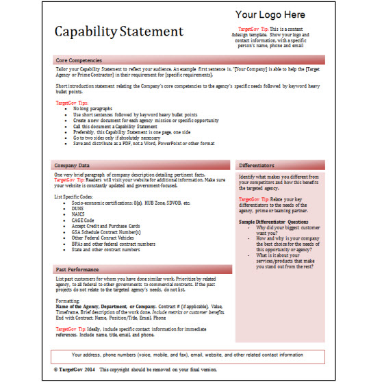 capability statement editable template red targetgov targetgov. Black Bedroom Furniture Sets. Home Design Ideas