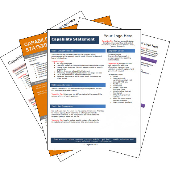 Capability Statement Editable Template Bundle - TargetGov TargetGov