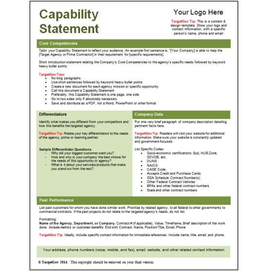 capability statement template word capability statement editable template green targetgov 20773
