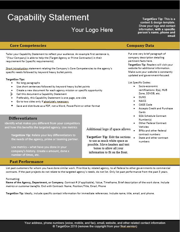 Capability Statement Editable Template TargetGov