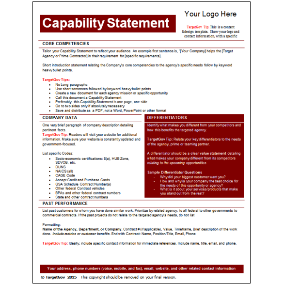 capability statement template word capability statement editable template targetgov 20773