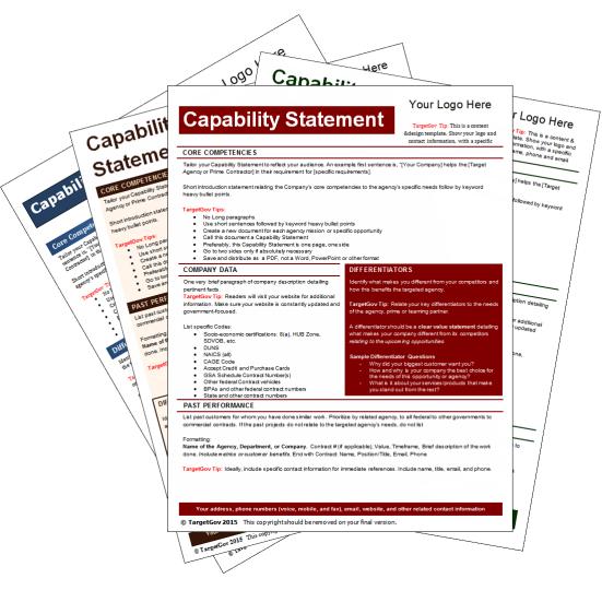 capability statement template bundle 2 targetgov. Black Bedroom Furniture Sets. Home Design Ideas